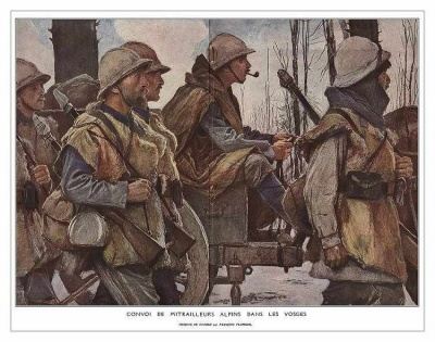 A Machine-Gun Company of Chasseurs Alpins in the Barren Winter Landscape of the Vosges. painting by Francois Flamenge.jpg